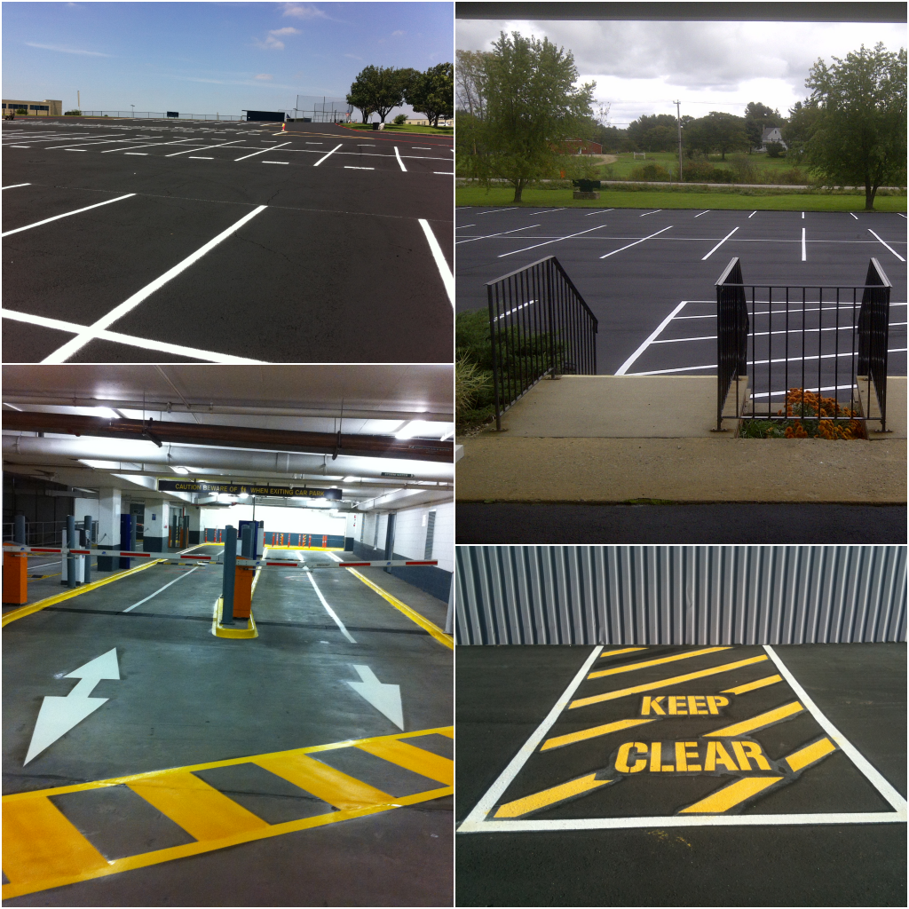 Car park line marking, painting, UK