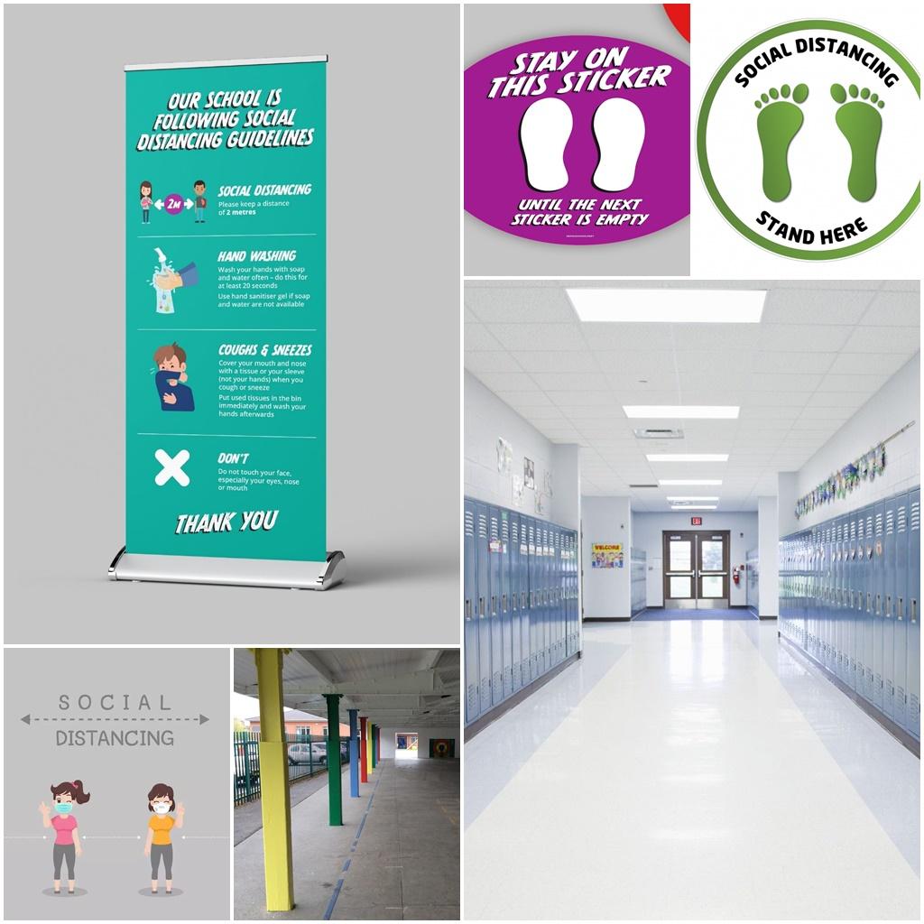 Social Distancing Floor Marking & Signs for Schools